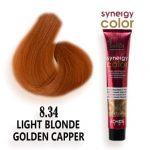 رنگ مو فاقد آمونیاک مسی طلایی روشن سینرژی 8.34 اچ اس لاین