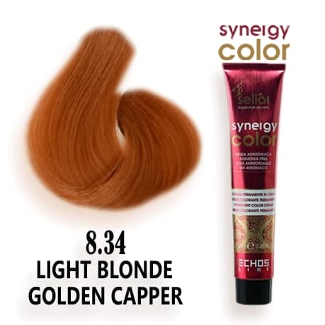 رنگ مو فاقد آمونیاک طلایی مسی روشن 8.34 اچ اس لاین
